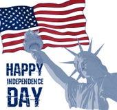 在美国国旗背景的自由女神像  7月四日庆祝的美国设计 美国符号 免版税库存图片