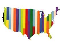 在美国地图的五颜六色的墙壁纹理 免版税库存照片