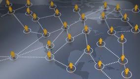 在美国地图的社会网络 库存图片