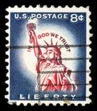 在美国打印的邮票,美国的标志的展示一,自由女神像 免版税库存照片