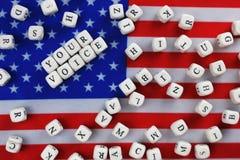 在美国旗子的竞选simbol 库存照片