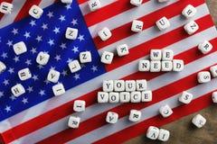 在美国旗子的竞选simbol 免版税库存图片