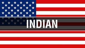 在美国旗子背景的印度人,3D翻译 美国沙文主义情绪在风 骄傲美国沙文主义情绪, 库存例证