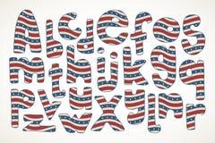在美国星条旗样式的手拉的信件 免版税库存照片
