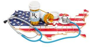 在美国概念的医疗保健, 3D翻译 免版税库存图片