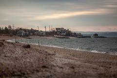 在美国海岸的晚上,长岛 免版税库存图片