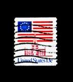 在美国独立纪念馆的13个星旗子, 1975-1981规则问题,大约1975年 库存照片