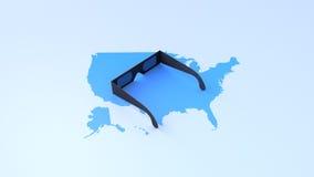 在美国的地图的太阳镜 免版税库存照片