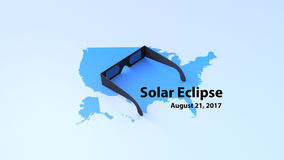 在美国的地图的太阳镜 免版税库存图片