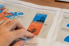 读在美国竞选以后的咖啡馆 免版税库存图片