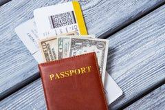 在美国美元的护照 库存图片