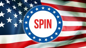 在美国背景的旋转竞选,3D翻译 美国沙文主义情绪在风 投票,自由民主,旋转 库存例证