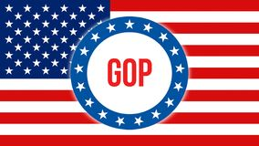 在美国背景的Gop竞选,3D翻译 美国沙文主义情绪在风 投票,自由民主,gop 皇族释放例证