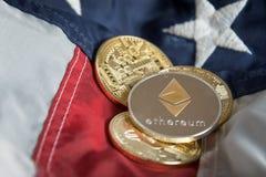 在美国Ame的金黄数字式Cryptocurrency Ethereum硬币 免版税库存图片