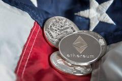 在美国Ame的银色数字式Cryptocurrency Ethereum硬币 免版税库存图片