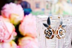 在美好的五颜六色的被弄脏的背景的美丽的earings 库存图片