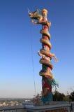 在美好的天空背景的中国龙 泰国 库存图片