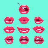 在美好的激情设置的女性性感的嘴唇 与亲吻,微笑,牙的嘴 免版税库存照片