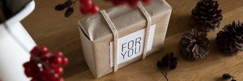 在美好的窗口光的减速火箭,自然和简单的被包裹的圣诞节礼物 横幅例证向量xmas 免版税库存照片