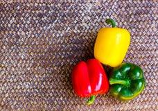 在美好的背景的三颜色胡椒 免版税库存照片