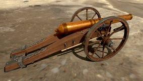 在美好的背景的中世纪大炮 3d翻译 免版税图库摄影