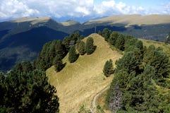在美妙的山风景的供徒步旅行的小道由山顶决定 库存照片
