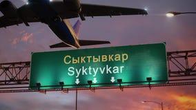 在美妙的日出期间,飞机离开瑟克特夫卡尔 股票录像