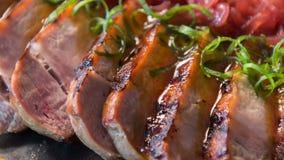 在美妙的肉餐的选择聚焦 股票录像