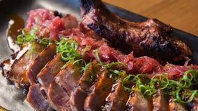 在美妙的肉餐的选择聚焦 股票视频