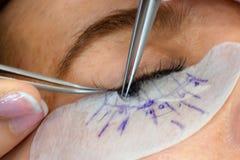 在美容院的软的焦点睫毛引伸做法 免版税库存照片