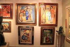 在美术画廊的当代绘画在圣保罗de Vence 库存照片