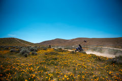 在羚羊谷,加利福尼亚的摩托车 图库摄影