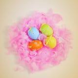 在羽毛巢的装饰的鸡蛋  库存图片