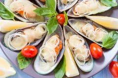 在翼的淡菜,烘烤用无盐干酪、蕃茄和韭葱在大圆的盛肉盘地中海食物 免版税图库摄影