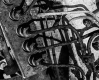 在老产业仪器的黑白老&难看的东西齿轮 免版税库存照片
