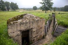 在老军事具体bunke的看法 免版税库存照片
