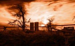 在老农场的太阳集合 库存照片