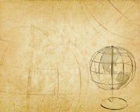 在老古色古香的葡萄酒纸的地球地球 免版税库存图片