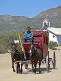 在老图森,图森,亚利桑那的一辆驿马车 库存照片