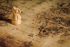 在老地图的棋 库存图片