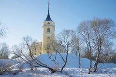 在老城堡Marienthal的晴朗的2月天 圣彼德堡,俄罗斯近处  库存照片