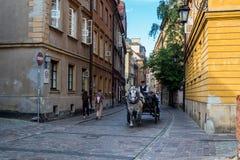 在老城市的历史街道上的马支架在华沙 免版税库存图片