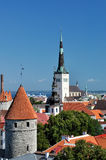 在老城市的顶视图在塔林爱沙尼亚 库存图片
