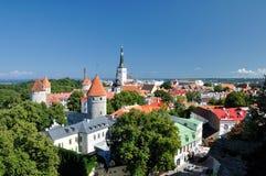 在老城市的顶视图在塔林爱沙尼亚 免版税库存图片