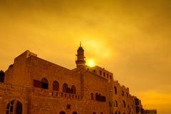 在老城市贾法角的日落 图库摄影