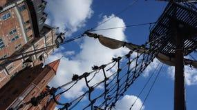 """在老城市gdaÅ """"sk的码头的帆船 免版税库存照片"""