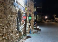 在老城市Yafo散步的Retzif HaAliya HaShniya街Tel的Aviv-Yafo在以色列 库存照片