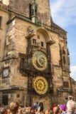 在老城镇厅的天文学时钟在布拉格 库存照片