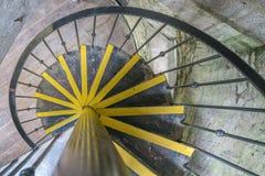 在老塔的螺旋形楼梯 库存照片