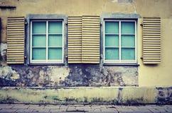 在老墙壁上的两个窗口 库存照片